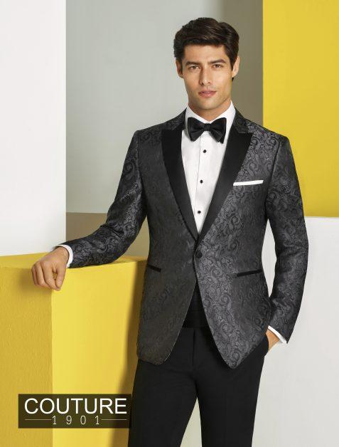 Charcoal Gray Paisley Tuxedo Jacket