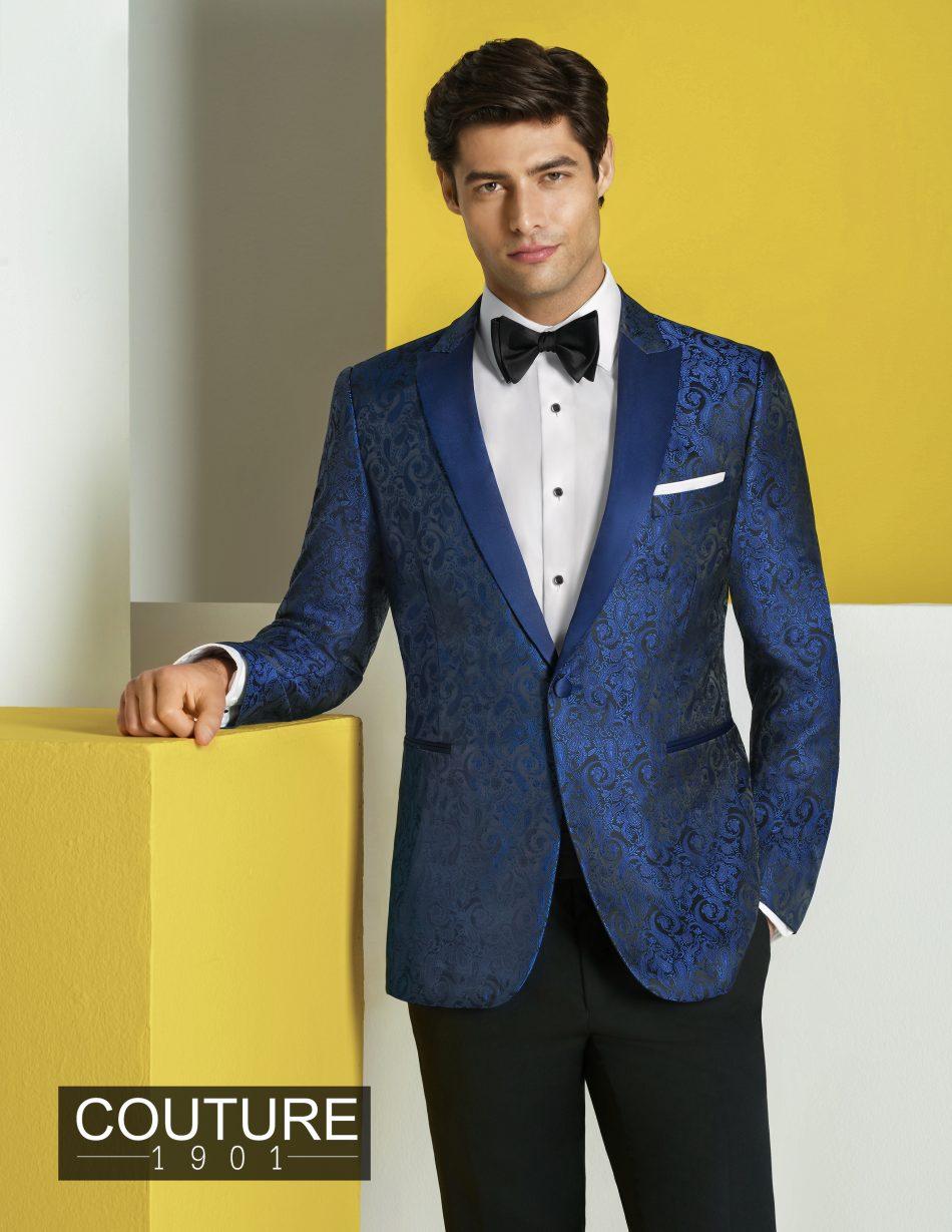 Royal blue paisley tuxedo jacket