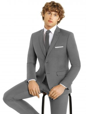 Model sitting on chair wearing Gray Suit - VIP Formal Wear - Raleigh NC