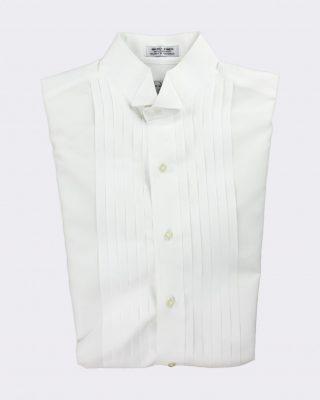 White Microfiber half inch pleated Wing Tip Collar Tuxedo Shirt - VIP Formal Wear - Raleigh NC